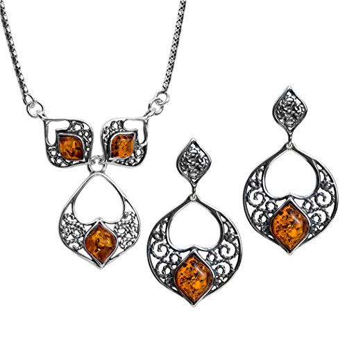 Sterling Silver Amber Filigree Earrings and Necklace Set 18