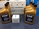 Subaru WRX Motor Oil - Genuine SUBARU Oil Change Kit Filter Gasket & 6 Qts Synthetic 5W30 Turbo WRX 2015-2018