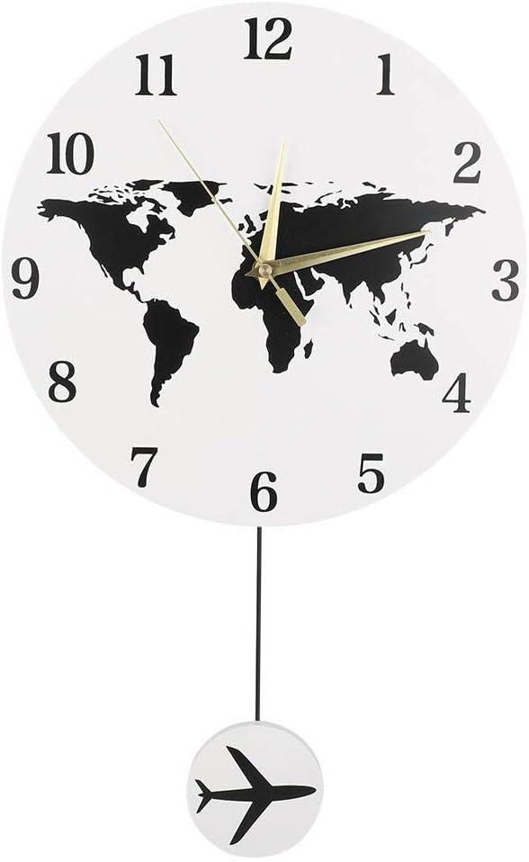 AUNMAS Nordic Wall Clock Europa Forma de Mapa con Modelo de avión péndulo Que cuelga Reloj Pared decoración Oficina Dormitorio Sala de Estar decoración del hogar