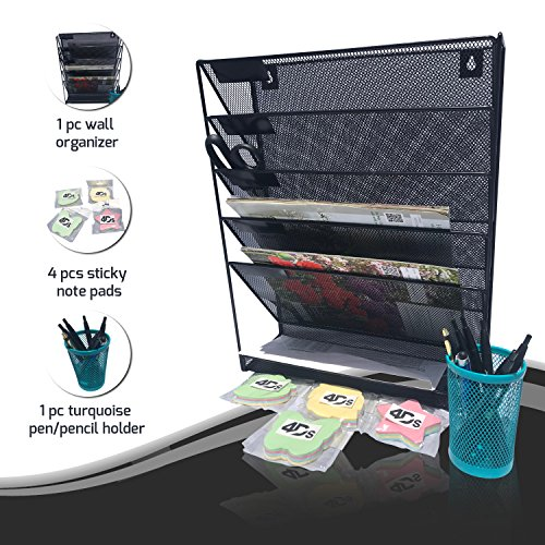 Metal Mesh Wall Organizer File Holder with Post it Sticky Note Pad and Pencil Pen Office Desk Tray to Mount Hanging Folder Paper Multiple Compartment Vertical Magazine Rack Bundle Pack (Folder Holder Mesh)