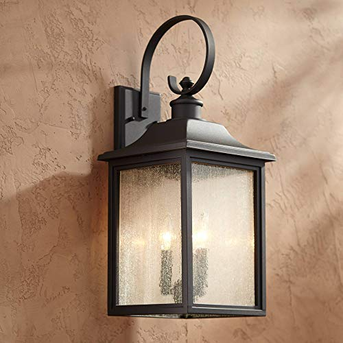 """Moray Bay Outdoor Wall Light Fixture Bronze Lantern Scroll Arm 24"""" Clear Seedy Glass for Exterior House Porch Patio Deck - John Timberland"""