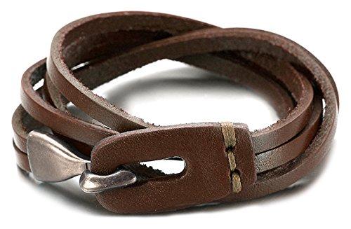 Hook Buckle Bracelet (Xusamss 3 Laps Twining Metal Hook Strap Buckle Leather Bracelets Bangle,7.5