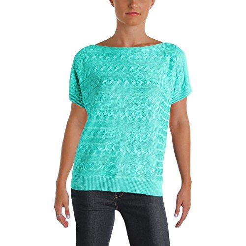 Lauren Ralph Lauren Womens Petites Cable Knit Pullover Sweater Green ()
