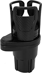 Car Cup Holder Expander Adapter- Dual Drink Holder for Car- Cup Holder Extender- 2 in 1 Multifunctional Cup Mount Extender with 360° Rotating Base, Special Drink Holder Adjustable, Carbon Fiber Black
