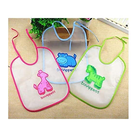 Lukzer 3PC Unisex Kids Baby Bibs Waterproof Lunch Dinner Bibs for Infants Cartoon Pattern (Random Design and Color)