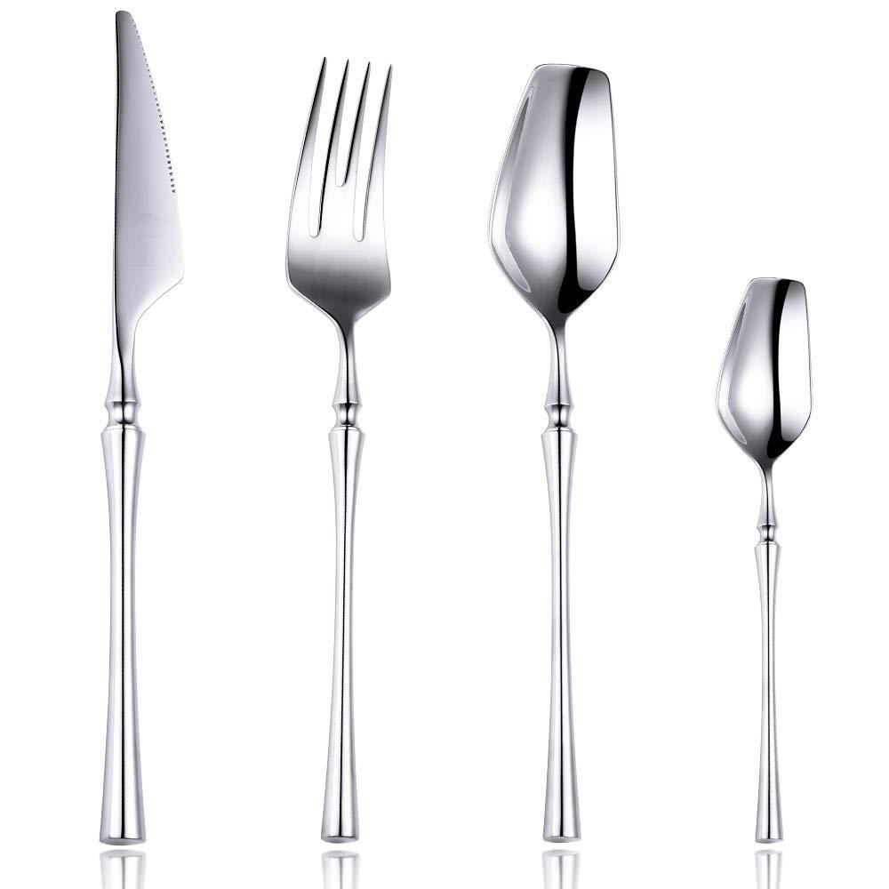 Lemeya 24-Piece 18/10 Stainless Steel Silverware Set Luxury Flatware Cutlery Set Mirror Polished Service for 6 Include Knife Fork Spoon Dishwasher Safe (Silver)