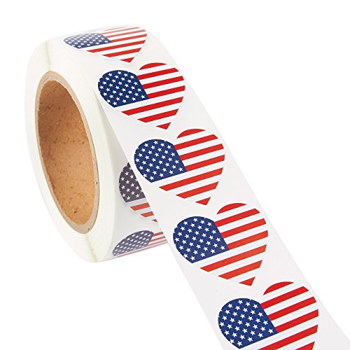 American Flag Sticker Roll - 1000-Count Heart Shaped USA Flag Sticker Labels, Patriotic US Adhesive Decal, 1.7 x 1.5 - Label Patriotic
