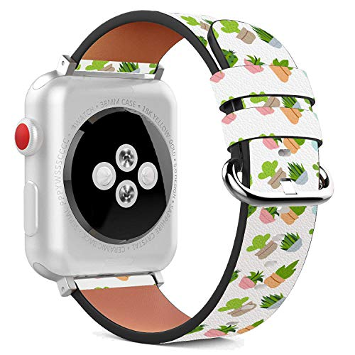 Compatible with Apple Watch - 42mm Leather Wristband Bracelet with Stainless Steel Clasp and Adapters - Cactus Flat Design Pattern