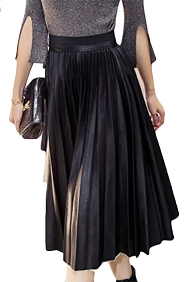 1a83f8c66db Lutratocro Womens Winter Faux Leather Elastic Waist Swing Pure Color  Pleated Fall Flare Skirts at Amazon Women s Clothing store