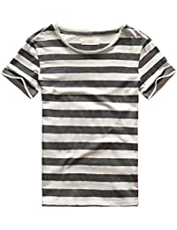 Mens Striped T-Shirt Casual Slim Fit Striped Tees Tops Summer