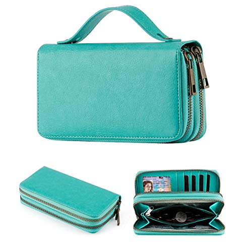 Double Zipper Around Long Clutch Wallet Wristlet Wallet Cellphone Bag with Handle Strap for Women and Girls (Green)