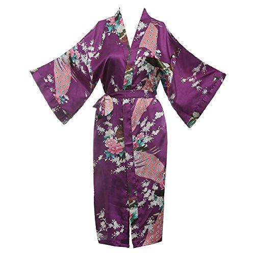 (missfashion Women's Kimono Robe Peacock & Blossoms Satin Nightwear (X-Large, Purple))