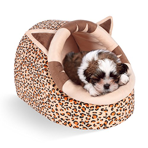 - CUPETS Cave Style House For Pets Dog Bed Cat Tent Pet Supplies with Comfortable Mat, Leopard style