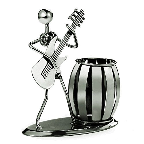 Decorative Pen Organizer / Pencil Holder With Metal Man Playing Eastlion  Guitar