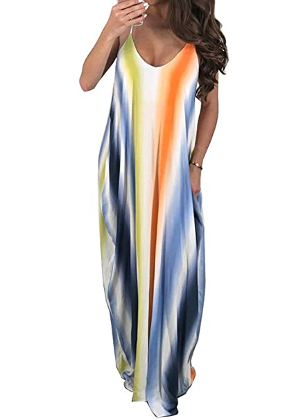 f3ce596543abe Bodycon4U Women's Spaghetti Strap Maxi Dress V Neck Tie Dye Loose Beach  Oversized Beachdress