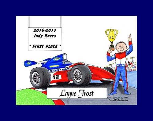(Personalized Friendly Folks Cartoon Print w/Mat - Ready to Frame Race Car Driver, Indy - Male)