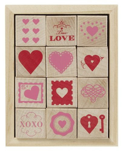 Amazon Com Martha Stewart Crafts Wood Stamp Set Valentines Day