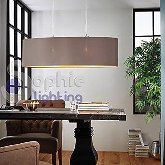 Hängelampe Pendelleuchte Verstellbar Lampenschirm Stoff Grau Gold Oval 100  Cm Design Modernes Esszimmer Esstisch Küche Wohnzimmer