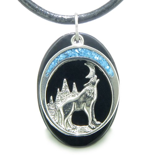 Howling Wolf Moon Amulet Spiritual Black Agate Gemstone Leather Pendant Necklace