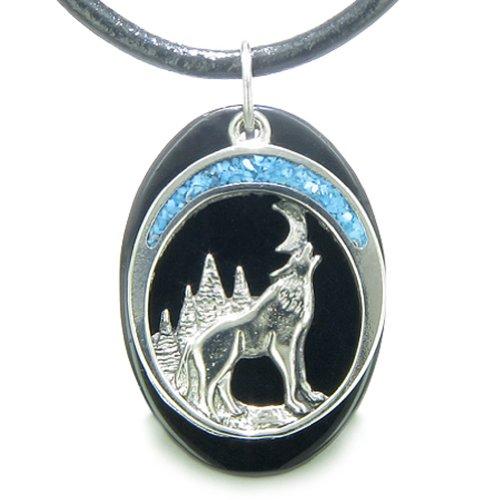 BestAmulets Howling Wolf Moon Amulet Spiritual Black Agate Gemstone Leather Pendant Necklace -