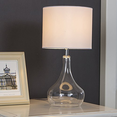 SOTTAE Modern Style Clear Glass Livingroom Bedroom Bedside Table Lamp, Desk Lamp with white Fabric - Modern Glasses Styles
