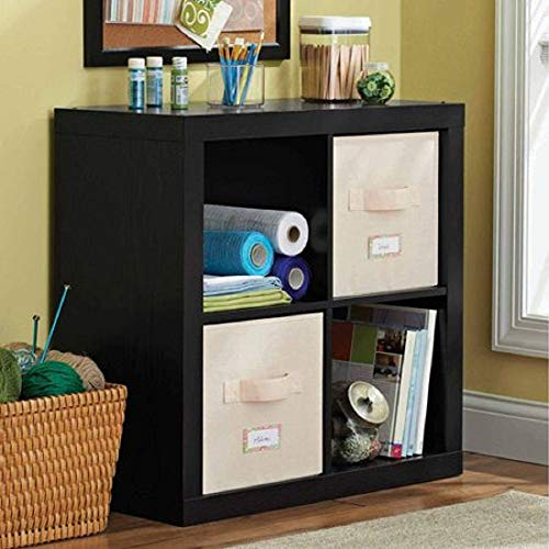 Better Homes and Gardens.. Bookshelf Square Storage Cabinet 4-Cube Organizer Weathered Solid Black, 4-Cube