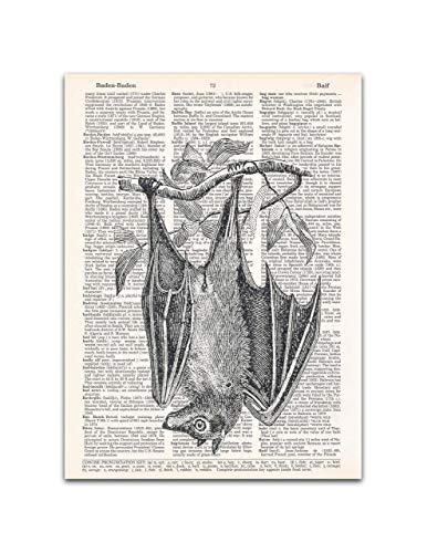 Hanging Bat Dictionary Page Print, Halloween Gothic Decor, 8x11 inches, Unframed]()