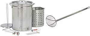 Bayou Classic 1118 32-Quart Stainless Steel Turkey Fryer & 0196 36-Inch Nickel-Plated Skimmer with 8-Inch Mesh Bowl