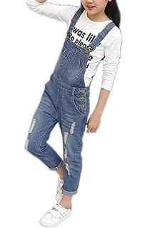 be0f8d3bd95 Girls Big Kid Adjustable Strap Long Jeans Cotton Suspender Denim Bib  Overalls 1P