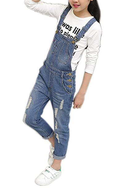 ab16c77e7148 Girls Big Kids Denim Overalls Long Ripped Holes Jeans Jumpsuits Pants Blue  160