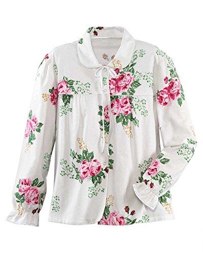 La Cera Flannel Bed Jacket, Rose Print, Large