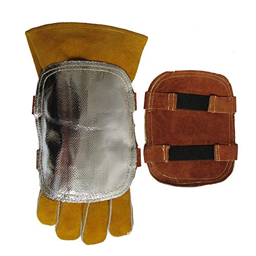 High Temperature Hand Guard Shield, Anti High Heat Transfer Flow Hand Guard Gloves Heat Shield Split Leather Leather Aluminized Back Weld Hand Pad