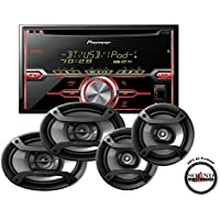 Pioneer In-Dash Double Din Bluetooth CD Player with TS-695P 6x9 and TS-165P 6.5 Speaker Package with a FREE SOTS Air Freshener