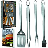 Heavy Duty BBQ Grill Tools Set | Stainless Steel Spatula - Fork - Tongs - & Basting Brush | Barbecue Utensil Set For Grilling | Grill Accessories for Barbeque by Acorn Ridge|Perfect Grill Gift