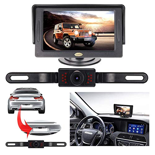 Backup Camera and Monitor Kit for Car, RAAYOO Universal Wired 13 Infrared LED Lights Night Vision Car Parking Assistance License Plate Rear View Backup Camera and 4.3 inch Color TFT LCD Monitor