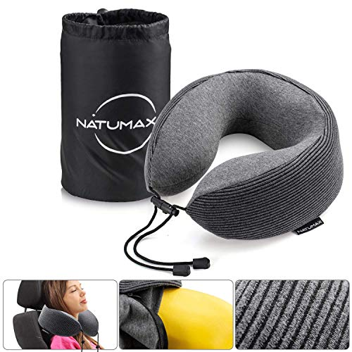 NATUMAX Neck Pillow for Air Planes, Breathable & Comfortable Memory Foam Travel Pillow, U-Shaped Adjustable Airplane Car Flight Pillow, 360-Degree Head Support