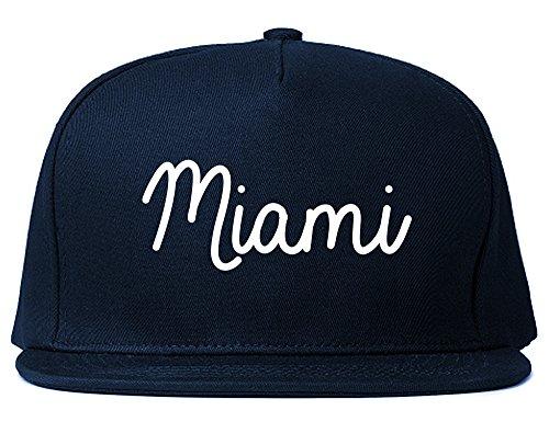 Miami Florida Script Chest Snapback Hat Navy Blue