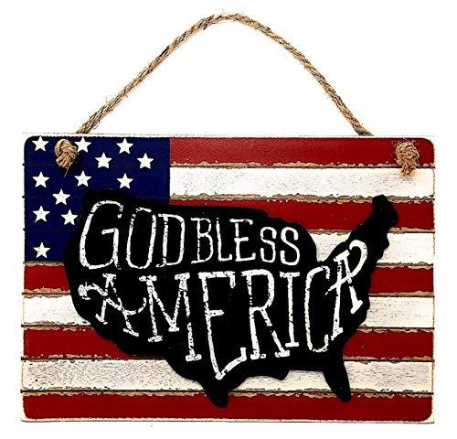 D.I. Inc Patriotic American Flag Rustic Wood Decor Art Wall Front Door Display/God Bless America / (15