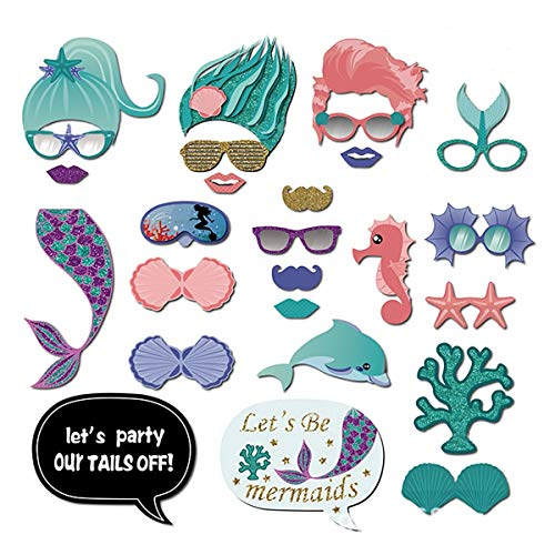 Mermaid Photo Booth Props Portable Personalized Baby Shower Birthday Party Decorations Supplies 26 PCS