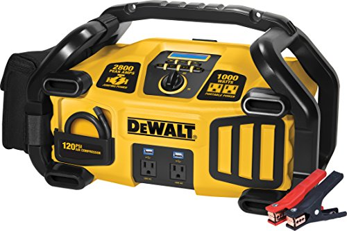 - DEWALT DXAEPS2 Professional Power Station Jump Starter: 2800 Peak/1400 Instant Amps, 1000W Inverter, 120 PSI Air Compressor, Battery Clamps