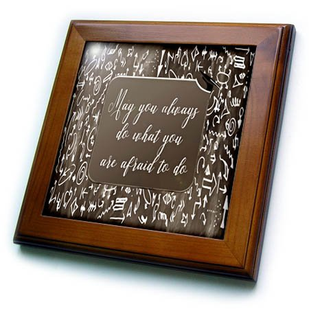 (3dRose Beverly Turner Graduation Design - Brown, Grad Cap, May you always do what you are afraid to do, Scribble - 8x8 Framed Tile)