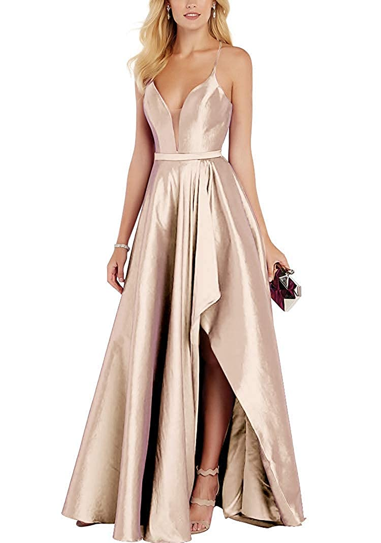 Champagne Stylefun Women's Spaghetti Straps Prom Evening Dresses Plus Size Bridesmaid Formal Gowns XIN024