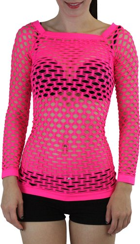 ToBeInStyle Women's Elastic Nylon-Spandex Long Sleeve Fishnet Layer Blouse Top - Neon Pink - One Size ()