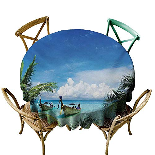 longbuyer Round Tablecloth spillproof Travel,Exotic Hawaiian Beach with Palm Trees and Fishing Boats Paradise Picture,Blue Green Turquoise D54,for Cards