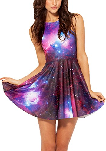 Dawafa Women's Galaxy Space Print Sleeveless Print Vintage Prom Dress