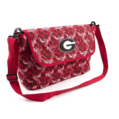 Georgia Bulldogs UGA Messenger Bag Quilted Bloom Shoulder Tote ()