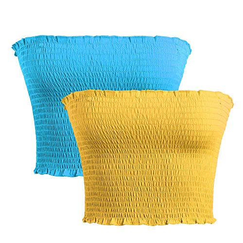 (GATHY Women's Strapless Pleated Sexy Tube Crop Tops (X-Small, Two Colors -Sky Blue-Yellow))