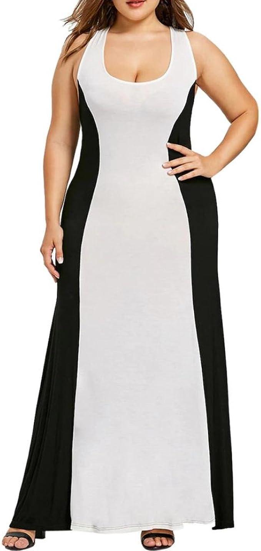 übergröße Kleider Damen Kolylong® Frauen Elegant V-Ausschnitt Patchwork  Ärmelloses Kleid Vintage Rückenfreies Kleid Lang Plus Size Strandkleid