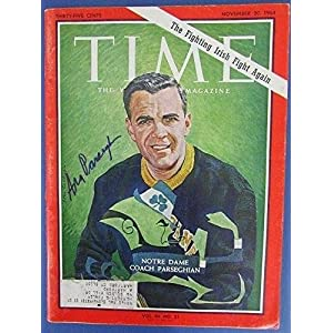Ara Parseghian Notre Dame Signed 11 20 64 Time Magazine JSA J30960