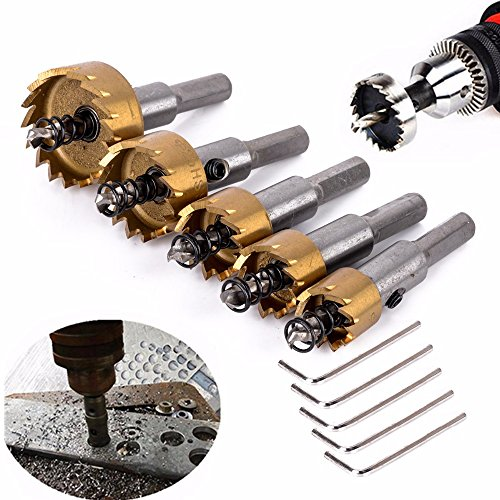Drill Warehouse 5 Pack High Speed Steel HSS Drill Bit Hole Saw Set Stainless Steel Metal Alloy Kit 16mm/18mm/20mm/25mm/30mm- Pack of 5